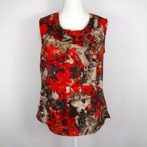 Kasper Red Abstract Floral Sleeveless Top Blouse